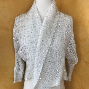 Ivory/Silver Sequin Knit Bolero Cardigan